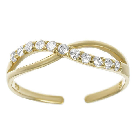 10K Yellow Gold Cubic Zirconium Adjustable Toe Ring