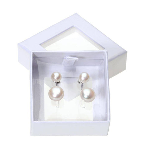 6-10MM Freshwater Double Pearl Sterling Silver Earrings