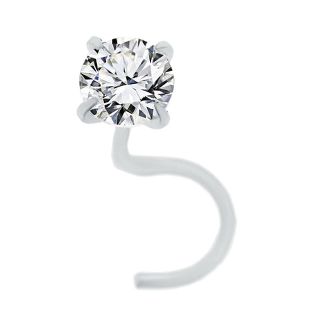 Image of 14 Karat Gold 2mm White Cubic Zirconium Nose Ring Curve Stud Twist Screw 22 Gauge