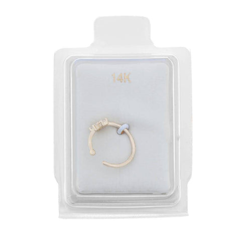 14 Karat Yellow Gold Cubic Zirconium Flower Open Hoop Nose Ring, 20 Gauge