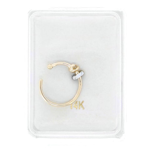 14 Karat Yellow Gold 2mm Cubic Zirconium Open Hoop Nose Ring 20 Gauge