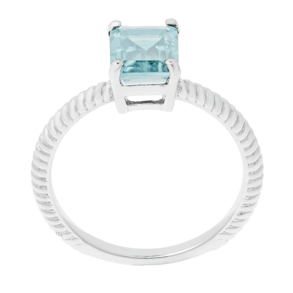 Lavari - Women's Octagon Aquamarine Ring - Sterling Silver
