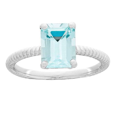 Lavari Jewelers - Sterling Silver Octagon Aquamarine Ring - Women's