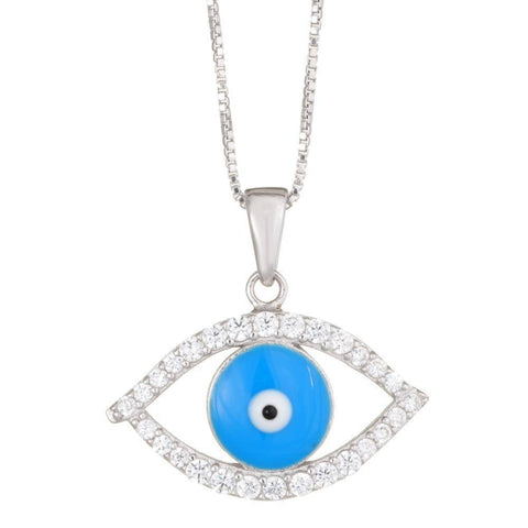 Image of Lavari - Women's Evil Eye Pendant with Cubic Zirconium - Sterling Silver