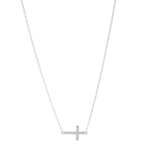 Image of Title:  Lavari - Women's Cross Diamond Necklace - Sterling Silver