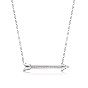 Lavari - Women's Arrow Diamond Pendant - Sterling Silver