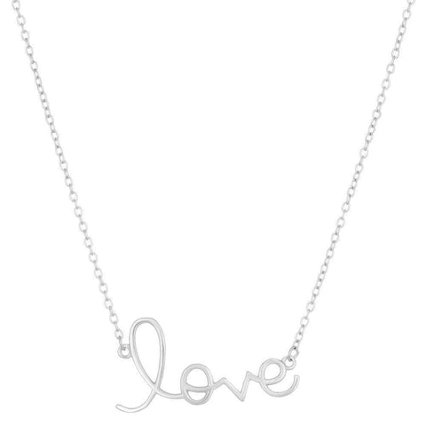 "Lavari Jewelers - Sterling Silver ""Love"" Pendant Necklace"
