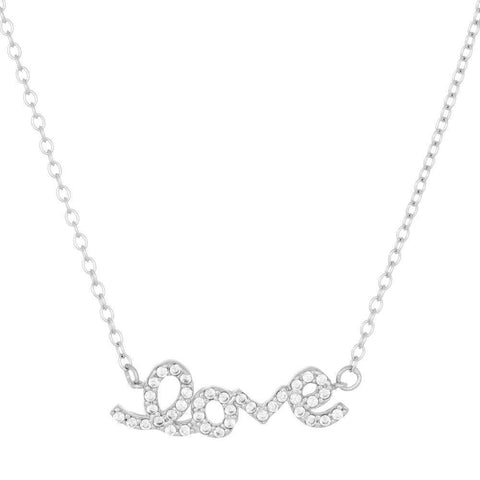 "Lavari Jewelers - Sterling Silver ""Love"" Pendant Necklace with Cubic Zirconium"