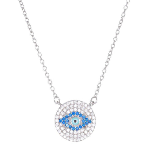 Image of Lavari - Sterling Silver Evil Eye Pendant Necklace with Cubic Zirconium