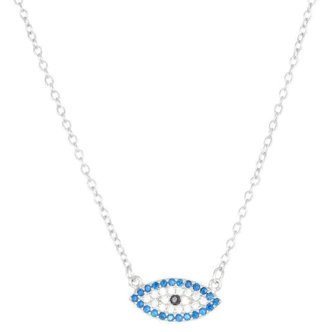 Image of Lavari Jewelers - Sterling Silver Evil Eye Pendant Necklace with Cubic Zirconium