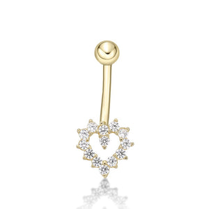 Lavari - Women's 14K Gold Heart Belly Ring with Cubic Zirconium - Yellow
