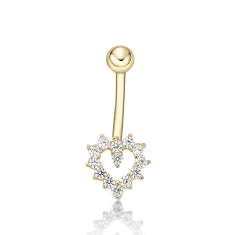Image of Lavari - Women's 14K Gold Heart Belly Ring with Cubic Zirconium - Yellow