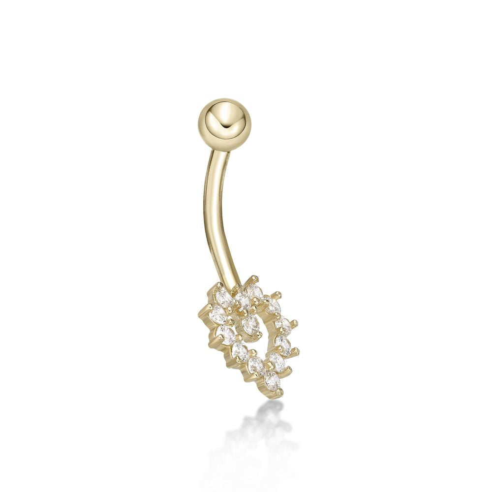 Lavari - Women's 14K Yellow Gold Heart Belly Ring with Cubic Zirconium