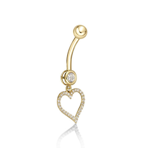 Lavari - Women's 10K Yellow Gold Heart Belly Ring with Cubic Zirconium