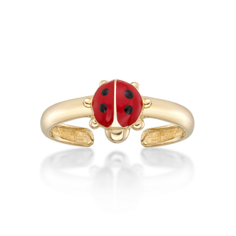 Lavari - 14K Adjustable Ladybug Toe Ring - Yellow Gold