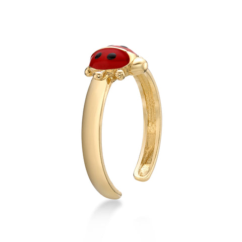 Image of Lavari - 14K Adjustable Ladybug Toe Ring - Yellow Gold