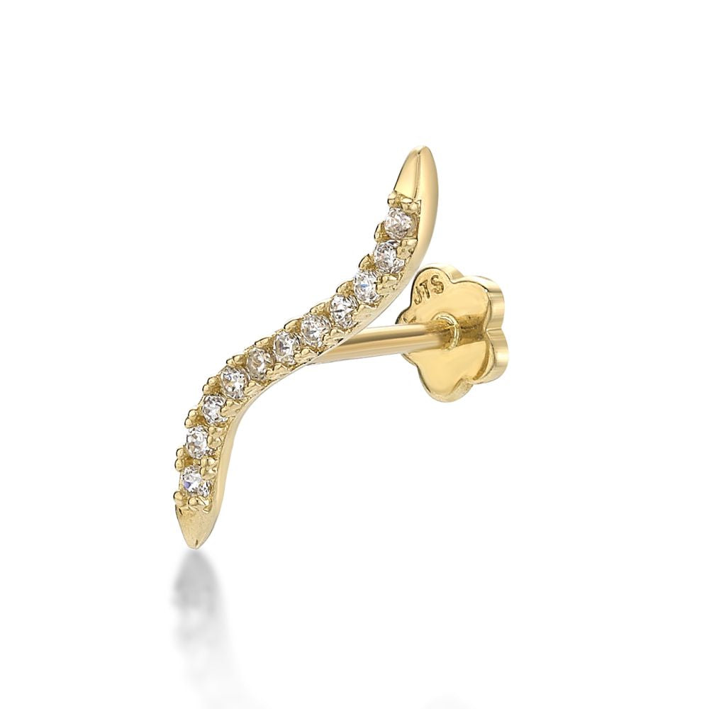 Lavari - 14K Wavy Bar Cartilage Earring with Cubic Zirconium - Yellow Gold