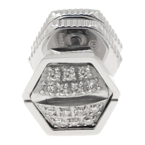 Lavari -  Stainless Steel Mano Stud Hexagon Earring .07 Diamonds - 9MM - Men's