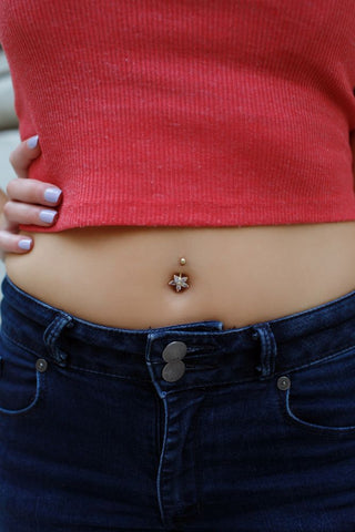 Image of Lavari - 10K YELLOW GOLD CZ FLOWER BELLY RING 16G 12MM