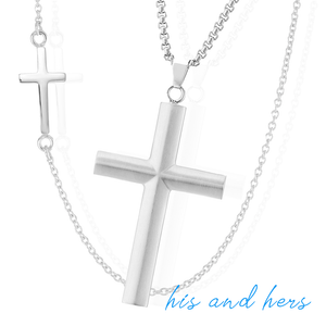Lavari - Stainless Steel Cross Box Chain Pendant Set - 24""
