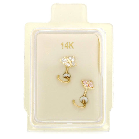 14 Karat Gold Butterfly and Flower Cubic Zirconium Nose Ring Set, 22 Gauge