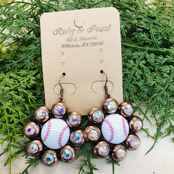 Bling Baseball Earrings (4 Colors)-Ruby & Pearl Boutique