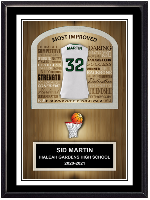 Basketball Inspirational Self Standing Plaque