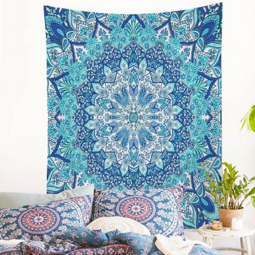 Blue Mandala Wall Tapestry