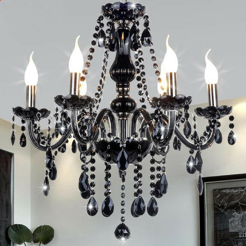 Black crystal chandelier lalunaco black crystal chandelier mozeypictures Gallery