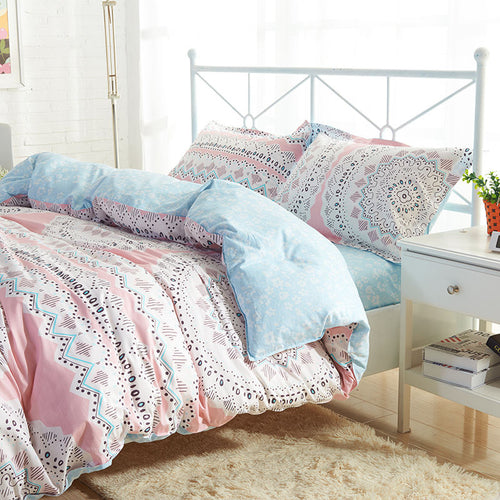 Delicate Floral Duvet 4 Piece Set Queen