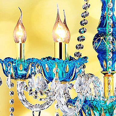 Modern Blue Crystal Chandelier