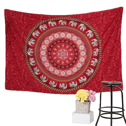 Red Elephants Wall Tapestry