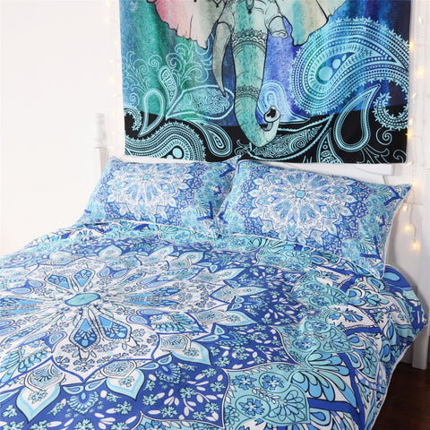 Elephant Print 4 Piece Duvet Set