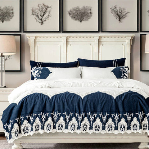 Amirah Flowers Printed Blue Bedding - Queen Size Set