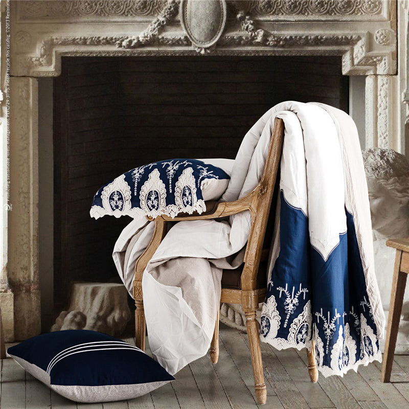White and Blue Lace Duvet Set