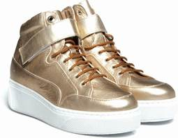 WOMEN'S 'SELECT' HI-TOP w/STRAP - EMBOSSED CROC GOLD