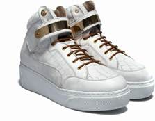 WOMEN'S 'SELECT' HI-TOP w/STRAP - EMBOSSED CROC WHITE