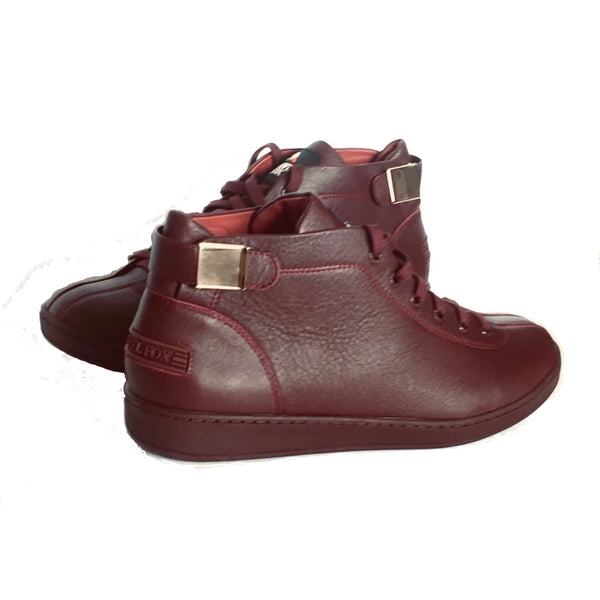 MEN'S 'MALIBU' NAPPA LEATHER MIDS w/BUCKLE - BURGUNDY