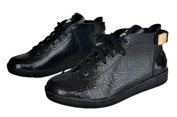 MEN'S 'MALIBU' PATENT LEATHER EMBOSSED SNAKE PRINT MIDS w/BUCKLE - BLACK