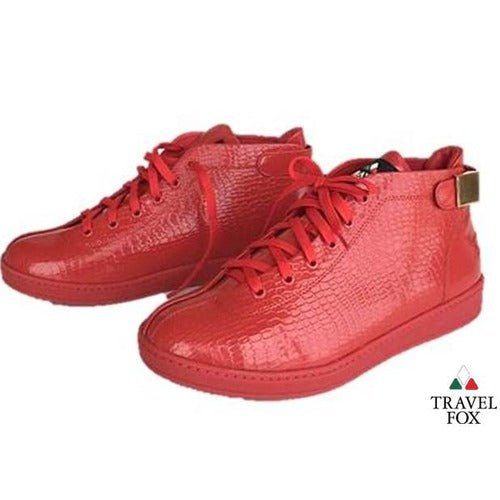 MEN'S 'MALIBU' PATENT LEATHER EMBOSSED SNAKE PRINT MIDS w/BUCKLE - RED