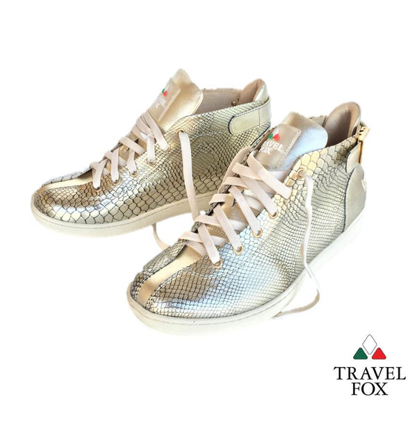 MEN'S 'MALIBU' PATENT LEATHER EMBOSSED SNAKE PRINT MIDS w/BUCKLE - GOLD