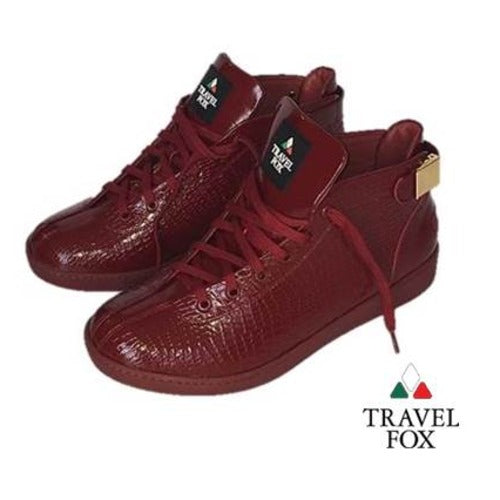 MEN'S 'MALIBU' PATENT LEATHER EMBOSSED SNAKE PRINT MIDS w/BUCKLE - BURGUNDY