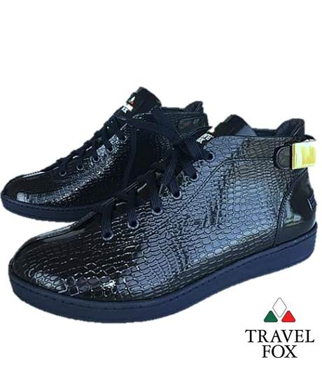 MEN'S 'MALIBU' PATENT LEATHER SNAKE EMBOSSED MIDS w/BUCKLE - NAVY BLUE