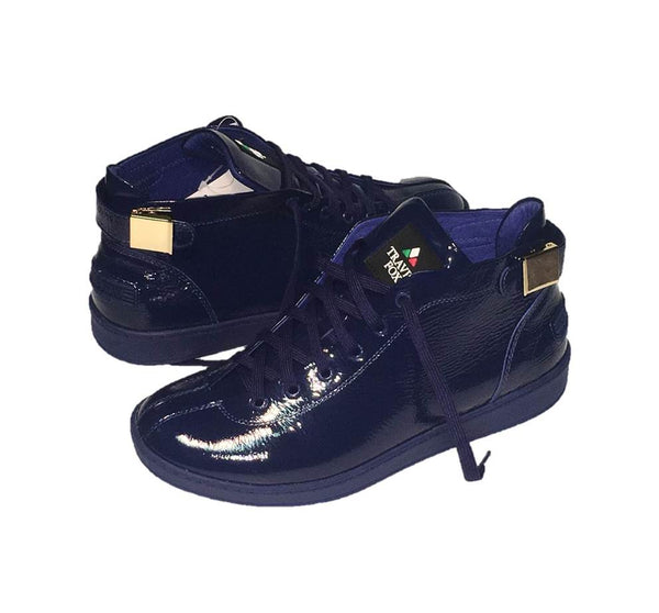 MEN'S 'MALIBU' PATENT LEATHER MIDS w/BUCKLE - AZURE BLUE