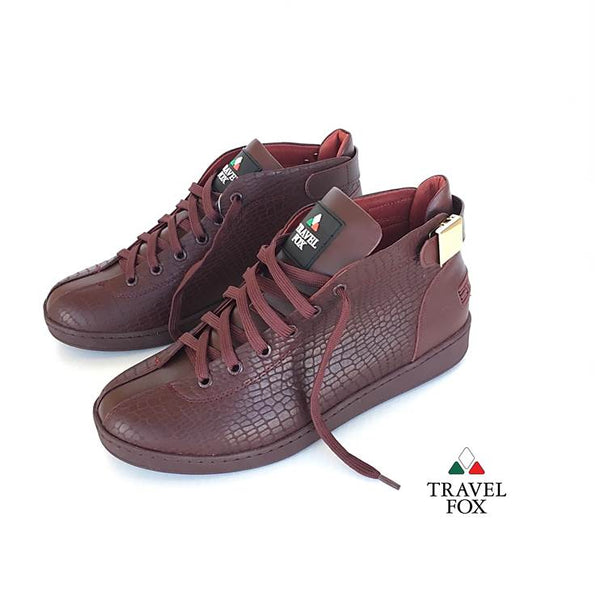 MEN'S 'MALIBU' EMBOSSED SNAKE PRINT MIDS w/BUCKLE - BURGUNDY