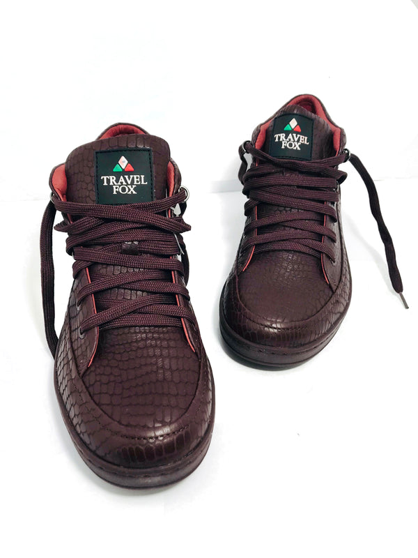 MEN'S 'CANCUN' EMBOSSED SNAKE PRINT MIDS - BURGUNDY