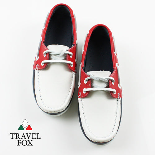 KIDS BOAT SHOES - NAPPA LEATHER RED/WHITE/NAVY