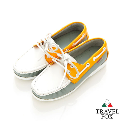 KIDS BOAT SHOES - NAPPA LEATHER ORANGE/WHITE/GREY