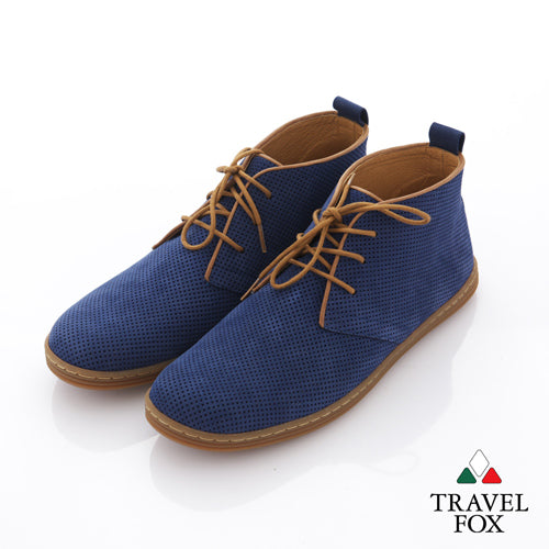 MEN'S DESERT BOOTS - PERFORATED SUEDE BLUE