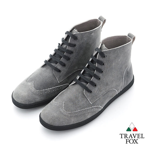 MEN'S BOOTS - DISTRESSED LEATHER WINGTIPS GREY